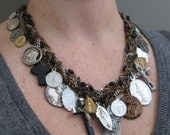 Catholic Medallion Assemblage Necklace - Salvaged Divinity No.7 - Upcycled and Antique Saint Medals on Woven Chain Collar