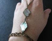 SALE - Hand Harness - Slave Bracelet - Vintage Brass and Abalone Shell Tribal Ring Bracelet