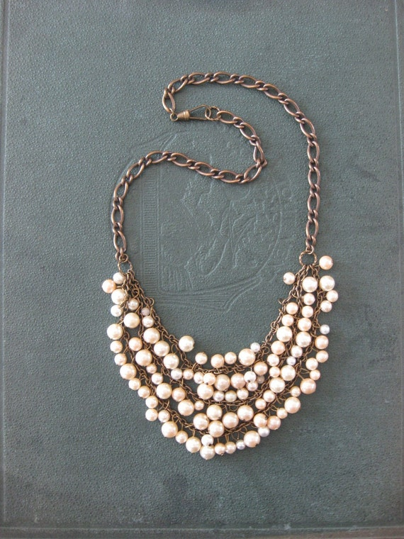 Mermaid Light - Tangled Decayed Upcycled Pearl Bib Necklace