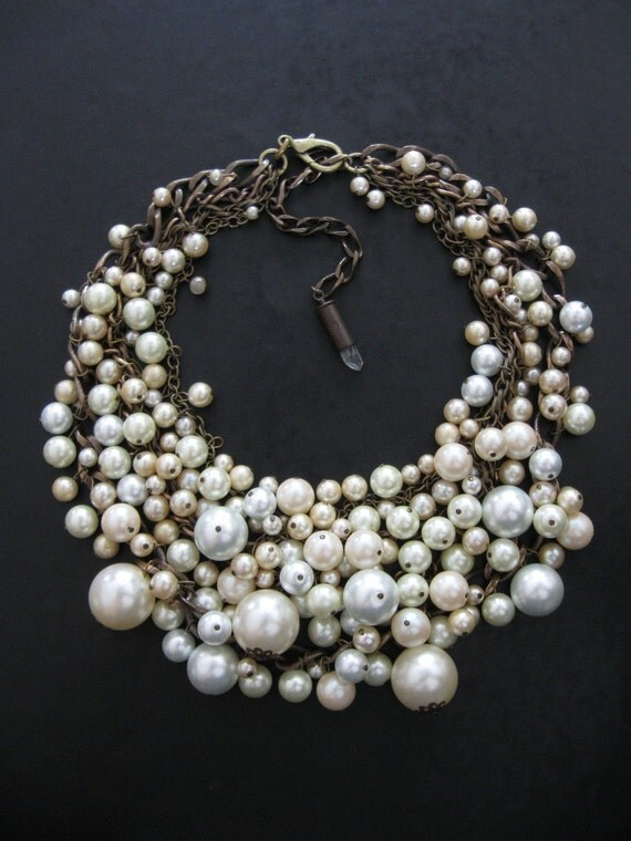 Mermaid Farts - Tangled Decayed Upcycled Pearl Bib Necklace - Fall 2010 Series