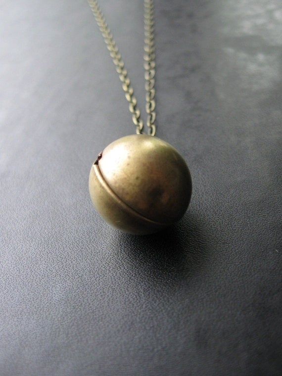 SALE - Retrospective - Vintage Ball Locket Necklace - Layering Necklace On Long Brass Chain