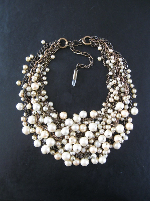 Mermaid Farts - Tangled Decayed Upcycled Pearl Bib Necklace - Cream Ecru and Brass