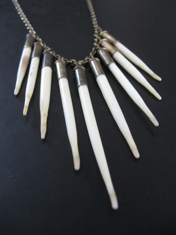 SALE - LAST ONE - Fearsome Toothsome - Porcupine Quill Necklace - White Tribal Fringe With Upcycled Bullet Casings