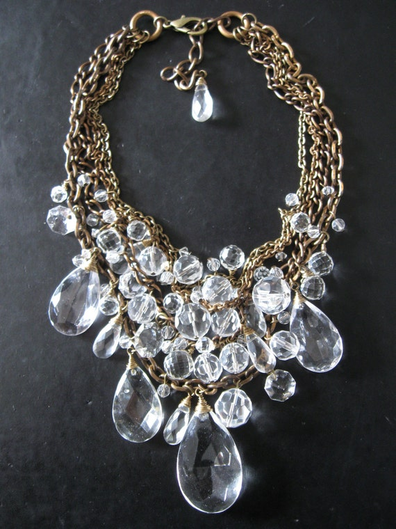 Toil And Trouble Revisited - Brass Chain and Crystal Bib Statement Necklace - Holiday Glam