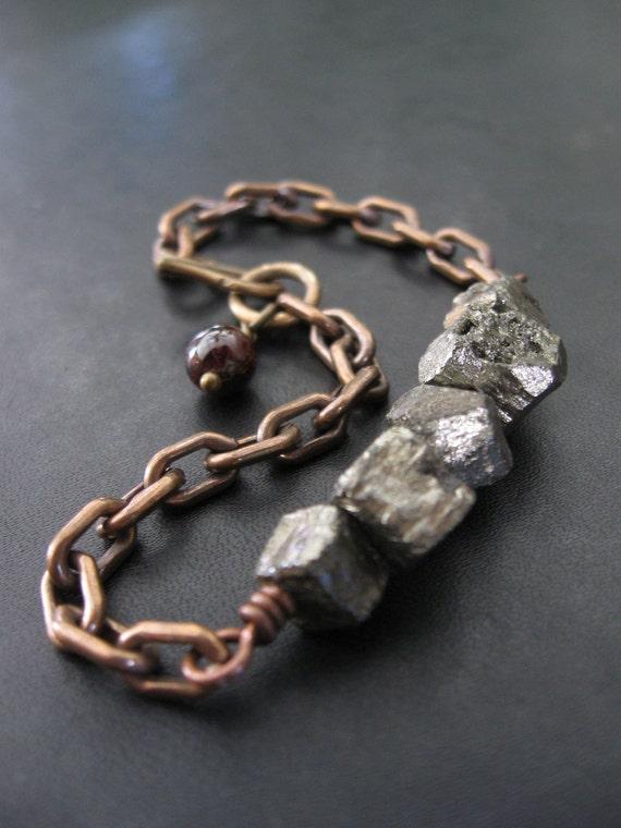 Pyrite Bracelet with Vintage Brass Chain and Garnet