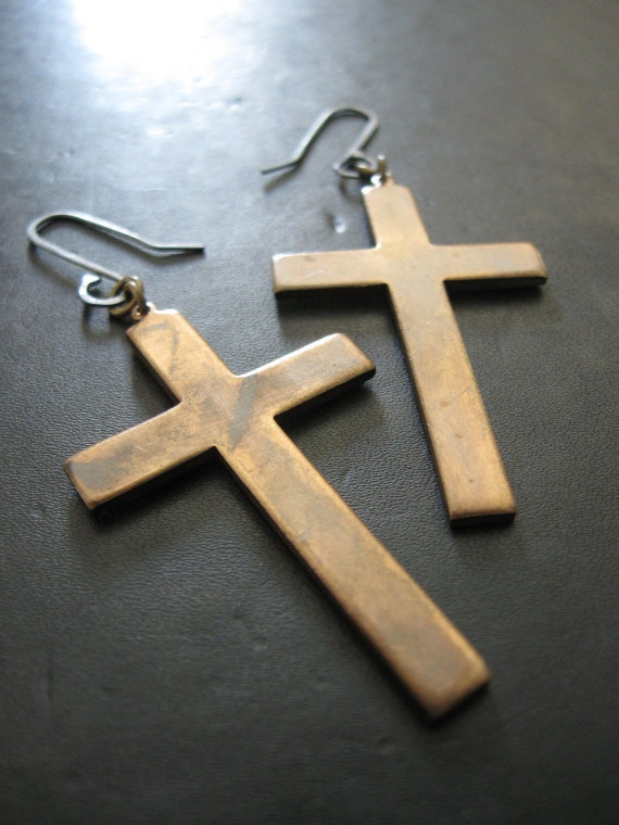 SALE - A Statement of Faith - Vintage Brass Cross Earrings with Blackened Sterling Wires