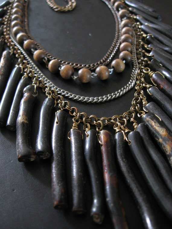 High Priestess Bib - Mixed Metal Black Coral and Wooden Rosary Bead Tribal Inspired Statement Necklace