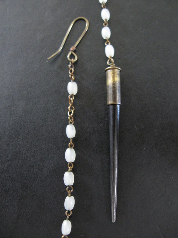 Nature Worship - Black and White - Porcupine Quill Earrings With Vintage White Glass Rosary Beads