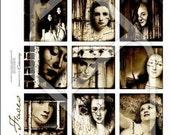 Women 2x2 Inch Digital Collage Print Sheet no135