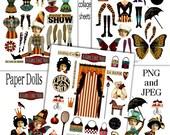 Paper Doll Fun Digital Collage Print Sheets no214