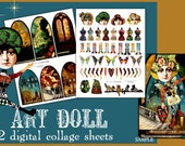 Paper Dolls with Backgrounds Digital Collage Print Sheet no222