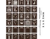 Alphabet 1x1 inch Digital Collage Print Sheet no241