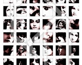 Women 1x1 Inch Digital Collage Print Sheet no156