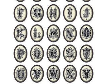 Alphabet on Porcelain Ovals Digital Collage Print Sheet no131