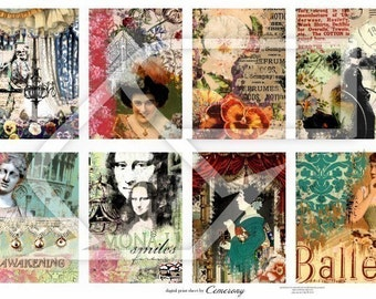 Altered Art ATC Digital Collage Print Sheet no117