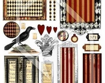 Labels , Frames and Backgrounds Digital Collage Print Sheet no146