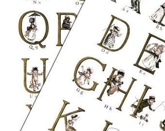 Alphabet-Kate Greenaway -Digital Collage Print Sheets no189