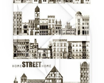 Houses Streets Digital Collage Print Sheet no179