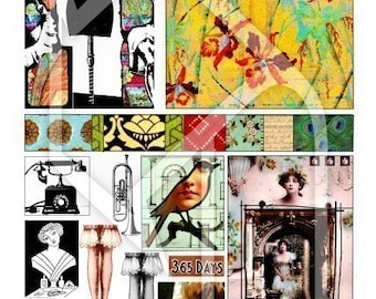 Art Journal Page Fun Digital Collage Print Sheet no172