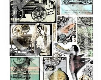 Steampunk Digital Collage Print Sheet no 171