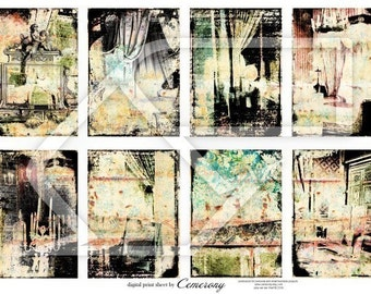 ATC - ACEO Backgrounds Digital Collage Print Sheet no178