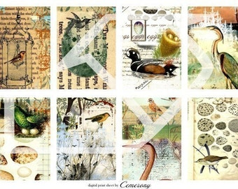 ATC - ACEO Size Digital Collage Print Sheet no28