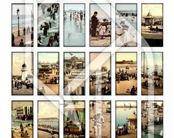 Beach and Boardwalk  (1x2 inch images) Digital Collage Print Sheet no186