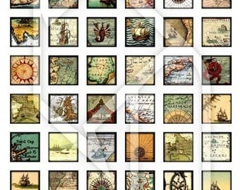 Ship at Sea and Old Maps 1x1 Inch Digital Collage Print Sheet no191