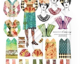 Paper Doll Digital Collage Print Sheet no182