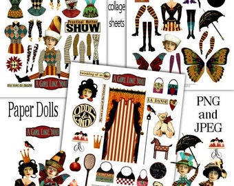 Paper Doll Fun Digital Collage Print Sheets no214