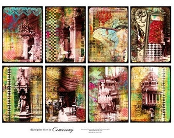 ATC - ACEO Backgrounds Digital Collage Print Sheet no233