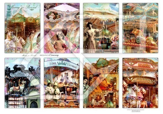 Carrousel , Merry go Round, Altered Art Digital Collage Print Sheet no119
