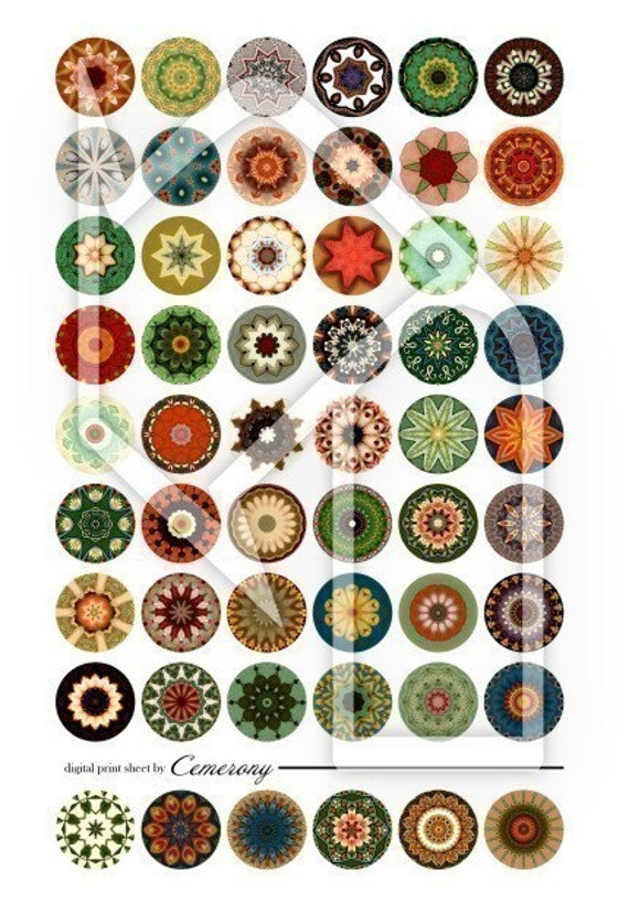 One Inch Kaleidoscope Digital Collage Print Sheet no75