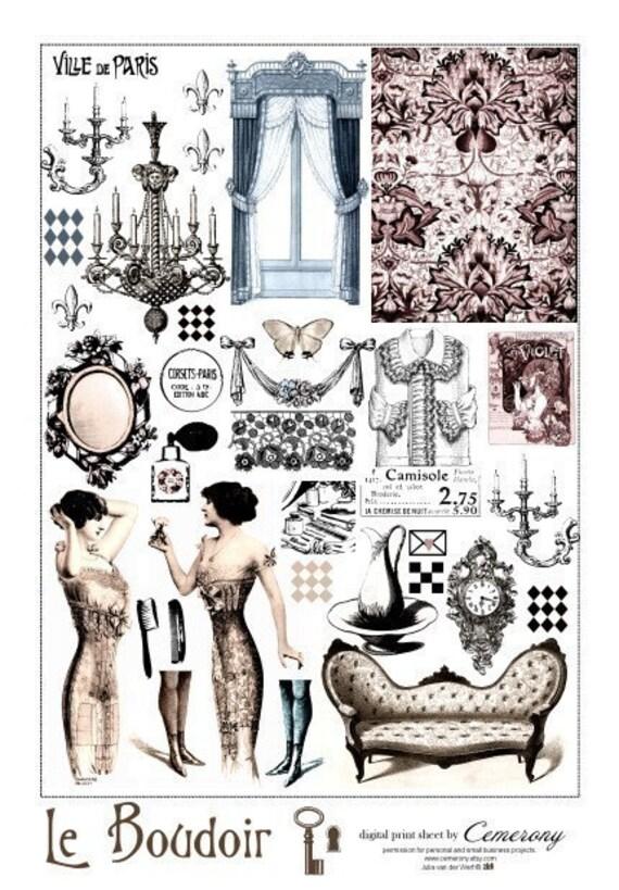 Le Boudoir French Digital Collage Print Sheet  no162