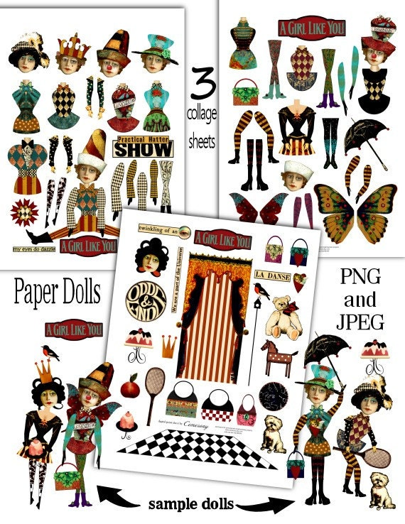 paper doll fun digital collage print sheets no214. Black Bedroom Furniture Sets. Home Design Ideas
