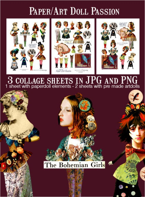 Paper Doll  / Art Doll Passion Digital Collage Print Sheet no234