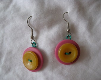 Pink and Yellow Button Earrings