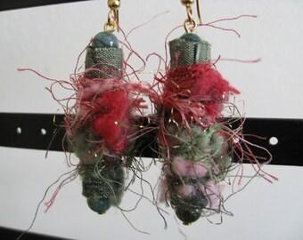 Funky Fabric Fiber Earrings -- Rosebush