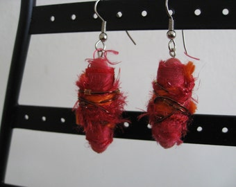 Funky Fabric Fiber Earrings -- Fuchsia