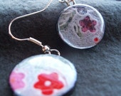 Wood, Resin and Chiyogami Earrings - FREE SHIPPING