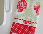 Oven Mitt - Hot Pad Lulu Rose and Polka Dot in Green and Red