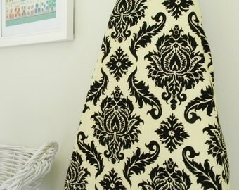 Ironing Board Cover - Damask in Black and Cream