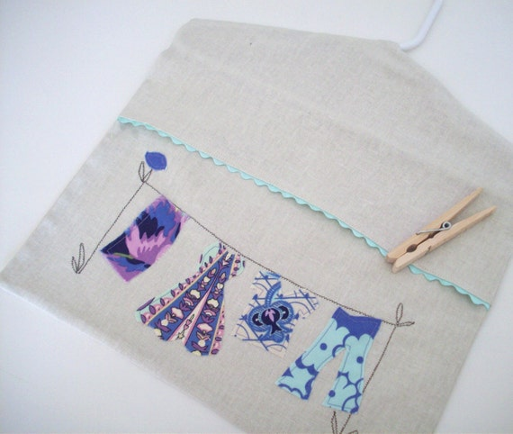 Linen Clothespin Bag in purple and blue