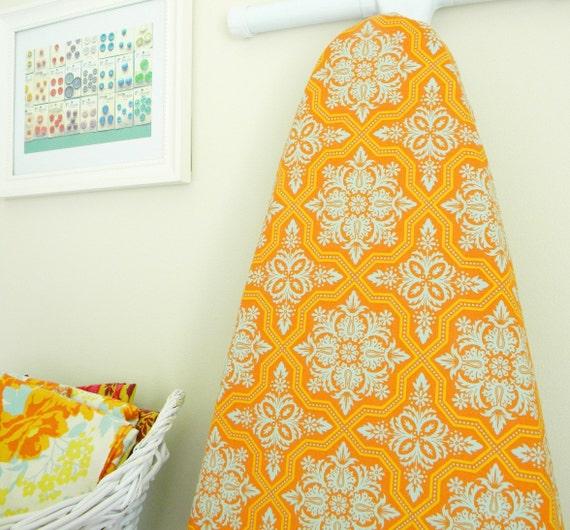 Ironing Board Cover - Tile Flourish in Amber Orange
