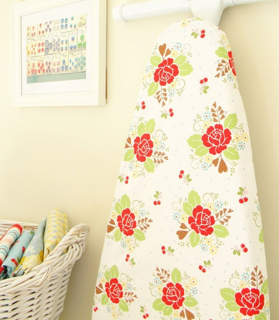 Ironing Board Cover - Sew Cherry Floral in White