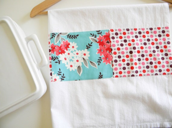 Kitchen Towel in Flea Market Floral Bouquet Patchwork - Aqua and Red
