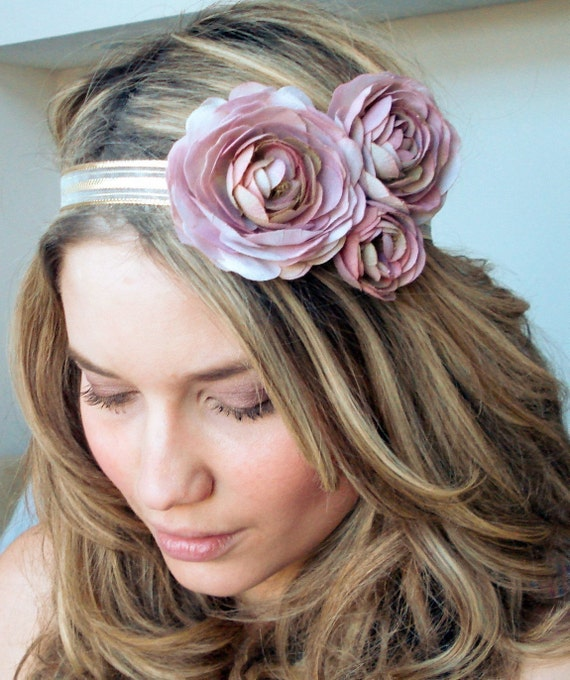 the amor - Couture Silk Flower and Gold Headband - Free Worldwide Shipping