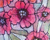Lenten Rose - 2.5x3.5 inch Original Mixed-media Abstract Painting ACEO