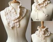Fall Winter Fashion - Knitting Pattern PDF - Feminine Scarf - Victoriana Scarflette - Original by Elena Rosenberg. Instant Digital DOWNLOAD.