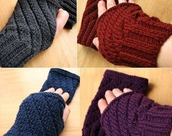 KNITTING PATTERN Digital Download PDF - Fingerless Gloves - Mitts Gauntlets Texting Gloves - Knitting Pattern Tutorial, Hygge
